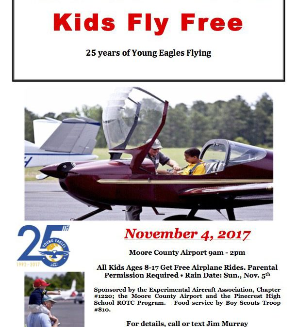Kids Fly Free at Moore County Airport | Young Eagles Day 11/04/17